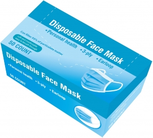 PMFE 95% Disposable Earloop Face Masks, 3 Ply, Blue, 50 Masks